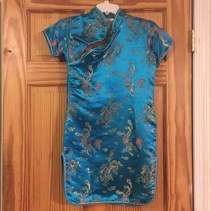 Like new girls Qipao style blue dress
